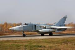 Escrimeur militaire de l'avion Su-24 de bombardier à réaction Photographie stock libre de droits