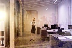 Escritório branco do espaço aberto do tijolo, sótão, mulher Imagem de Stock