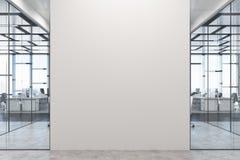 Escritório branco e de vidro, parede branca ilustração royalty free