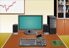 Escritório com material informático Imagens de Stock