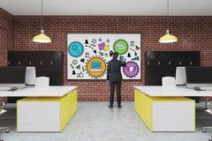 Escritório com um whiteboard, desenho do homem Imagem de Stock Royalty Free