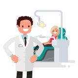 Escritório dental Menina do dentista e do paciente Ilustração do vetor Fotografia de Stock Royalty Free