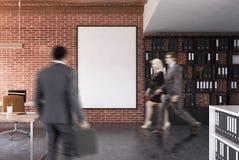 Escritório do espaço aberto do tijolo, cartaz, pessoa Fotografia de Stock Royalty Free