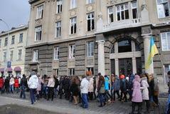Escritório do promotor de justiça s na procissão de Lviv Imagem de Stock