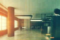 Escritório do tijolo com uma recepção e as colunas, homem Imagens de Stock Royalty Free