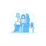 Escritório domiciliário e membro da equipa criativo remoto - externalize e livre ilustração stock