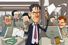 Escritório dos desenhos animados completamente dos povos que trabalham em computadores ilustração do vetor