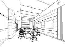 Escritório interior da perspectiva do desenho de esboço do esboço Imagens de Stock