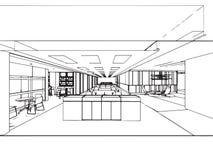 Escritório interior da perspectiva do desenho de esboço do esboço Fotos de Stock Royalty Free