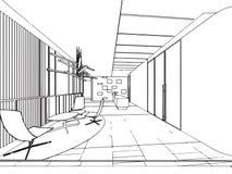 Escritório interior da perspectiva do desenho de esboço do esboço Foto de Stock