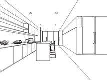 Escritório interior da perspectiva do desenho de esboço do esboço fotografia de stock royalty free