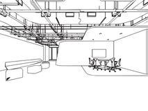 Escritório interior da perspectiva do desenho de esboço do esboço imagem de stock royalty free