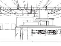 Escritório interior da perspectiva do desenho de esboço do esboço Imagem de Stock