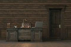 Escritório interior de madeira à moda com porta fechado 3d rendem Imagens de Stock