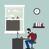 Escritório para negócios da ilustração do vetor Homem que senta-se em um computador Imagens de Stock Royalty Free