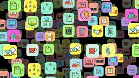 Escritório para negócios liso do ícone da animação sem emenda, educação de multimédios, meios sociais e teste padrão movente do f ilustração stock