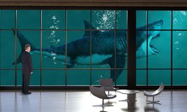 Escritório para negócios surreal, vendas, mercado, tubarão imagens de stock