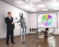 Escritório para negócios, trabalhadores, reunião do robô, tecnologia Imagens de Stock Royalty Free
