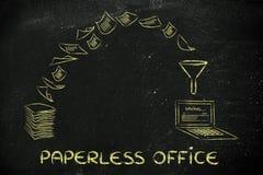 Escritório sem papel: originais da exploração e giro de papel em dados Imagem de Stock
