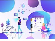 Escritório tecnologico de Vr do local de trabalho ilustração stock