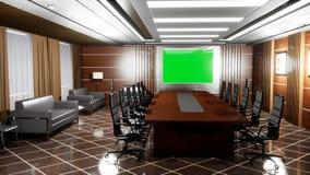 Escritório vazio moderno de gama alta com assoalhos, a mesa, as poltronas e o painel de madeira da tevê com tela verde filme