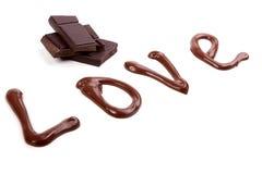 Escrita com chocolate - amor Imagens de Stock