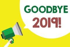 Escrita conceptual da mão que mostra adeus 2019 Ano novo Eve Milestone Last Month Celebration do texto da foto do negócio ilustração royalty free