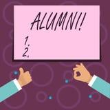 Escrita conceptual da mão que mostra alunos Academia graduada idosa da faculdade do recolhimento do pós-graduado do alume do text ilustração royalty free