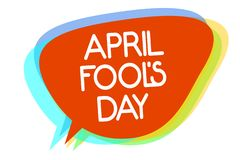 A escrita conceptual da mão que mostra April Fool s é dia A foto do negócio que apresenta gracejos práticos humor a celebração da ilustração royalty free