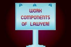 Escrita conceptual da mão que mostra componentes do trabalho do advogado Decisões apresentando dos documentos das leis dos advoga ilustração stock
