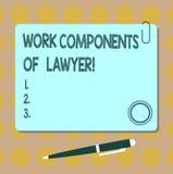 Escrita conceptual da mão que mostra componentes do trabalho do advogado Decisões apresentando dos documentos das leis dos advoga ilustração royalty free