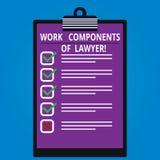 Escrita conceptual da mão que mostra componentes do trabalho do advogado Decisões apresentando dos documentos das leis dos advoga ilustração do vetor