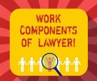 Escrita conceptual da mão que mostra componentes do trabalho do advogado Decisões dos documentos das leis dos advogados do texto  ilustração do vetor