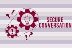 Escrita conceptual da mão que mostra a conversação segura O texto da foto do negócio fixado cifrou uma comunicação entre a Web ilustração do vetor
