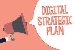 Escrita conceptual da mão que mostra a Digitas o plano estratégico O texto da foto do negócio cria a programação para o aviso de  ilustração do vetor