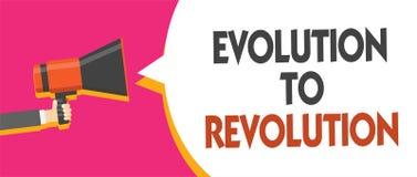Escrita conceptual da mão que mostra a evolução à revolução Adaptação apresentando da foto do negócio à maneira de vida para cria imagens de stock royalty free