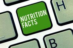 Escrita conceptual da mão que mostra fatos da nutrição Informações detalhadas apresentando da foto do negócio sobre os nutrientes imagens de stock royalty free