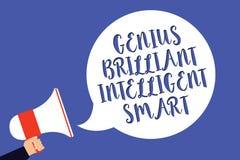 Escrita conceptual da mão que mostra a gênio Smart inteligente brilhante Homem brilhante inteligente h da inteligência do conheci ilustração do vetor