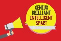 Escrita conceptual da mão que mostra a gênio Smart inteligente brilhante Homem brilhante inteligente h da inteligência do conheci ilustração royalty free