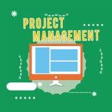 Escrita conceptual da mão que mostra a gestão do projeto Habilidades do processo de aplicação do texto da foto do negócio para co ilustração do vetor