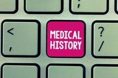 Escrita conceptual da mão que mostra a história médica Foto do negócio que apresenta o fundo passado de uma demonstração dentro foto de stock