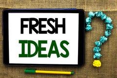 Escrita conceptual da mão que mostra ideias frescas Estratégia de pensamento do conceito da imaginação da visão criativa do texto Imagem de Stock