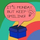 A escrita conceptual da mão que mostra lhe S segunda-feira mas mantém-se sorrir O texto da foto do negócio tem um bom começo do d ilustração royalty free