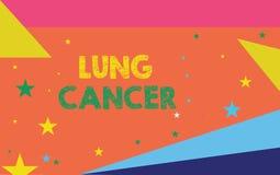 Escrita conceptual da mão que mostra Lung Cancer Crescimento descontrolado apresentando da foto do negócio das pilhas anormais qu ilustração do vetor