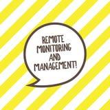 Escrita conceptual da mão que mostra a monitoração remota e a gestão Dados interurbanos do monitor do texto da foto do negócio ilustração stock