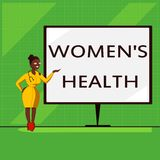 A escrita conceptual da mão que mostra a mulheres s é saúde Consequência apresentando da saúde física das mulheres s da foto do n ilustração stock