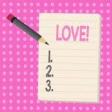 Escrita conceptual da mão que mostra o amor Da afeição profunda intensa do sentimento do texto da foto do negócio acessório sexua ilustração royalty free
