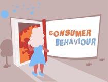 Escrita conceptual da mão que mostra o comportamento de consumidor Decisões do texto da foto do negócio que os povos fazem para c ilustração do vetor