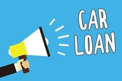 Escrita conceptual da mão que mostra o empréstimo automóvel Texto da foto do negócio que toma o dinheiro do banco com interesse g ilustração royalty free