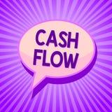 Escrita conceptual da mão que mostra o fluxo de caixa Movimento do texto da foto do negócio do dinheiro em e para fora de afetar  imagens de stock